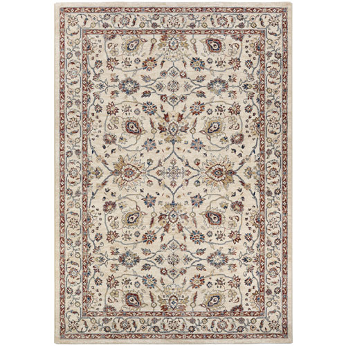 Couristan Monarch Kerman Vase Antique Cream and Red Rectangular: 3 Ft. 3 In. x 5 Ft. 3 In. Rug