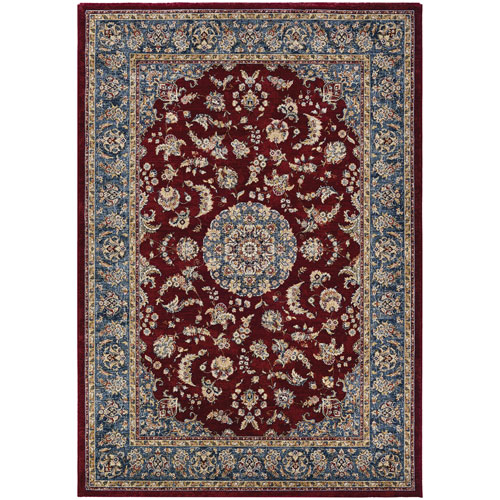 Monarch Medallion Bordeaux and Slate Rectangular: 3 Ft. 3 In. x 5 Ft. 3 In. Rug
