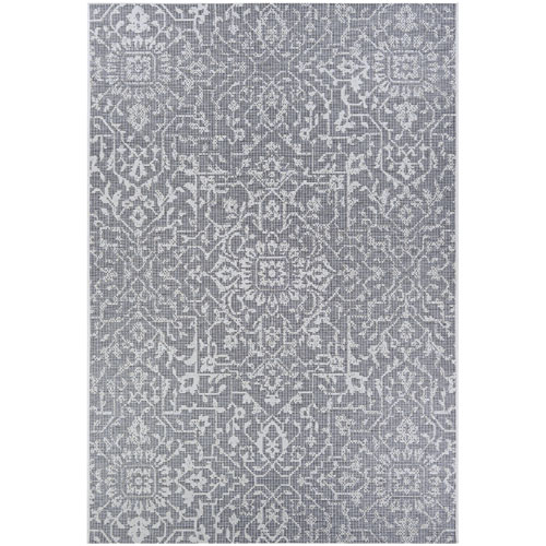 Couristan Monte Carlo Palmette Grey and Ivory Rectangular: 2 Ft. x 3 Ft. 7 In. Indoor/Outdoor Rug