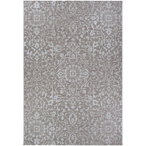 Monte Carlo Palmette Mushroom and Ivory Rectangular: 2 Ft. x 3 Ft. 7 In. Indoor/Outdoor Rug