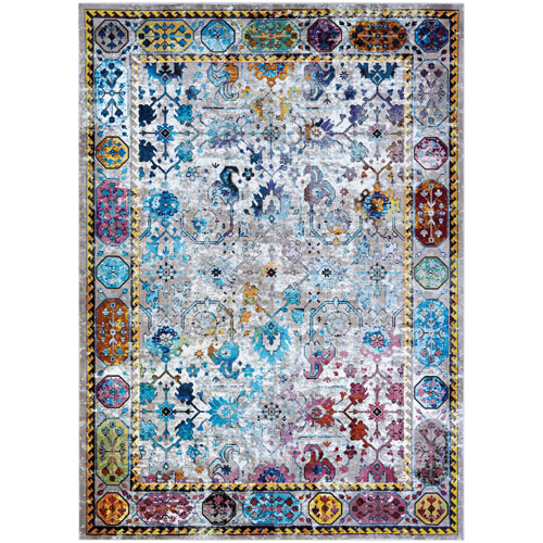 Gypsy Retro Damsel Ivory and Mushroom Rectangular: 3 Ft. 6 In. x 5 Ft. 6 In. Rug