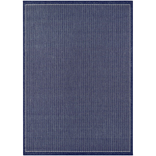 Recife Saddle Stitch Ivory and Indigo Rectangular: 2 Ft. x 3 Ft. 7 In. Indoor/Outdoor Rug