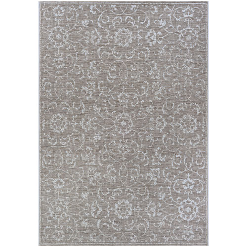 Monte Carlo Summer Vines Mushroom and Ivory Rectangular: 2 Ft. x 3 Ft. 7 In. Indoor/Outdoor Rug