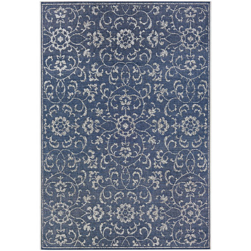 Monte Carlo Summer Vines Navy and Ivory Rectangular: 2 Ft. x 3 Ft. 7 In. Indoor/Outdoor Rug