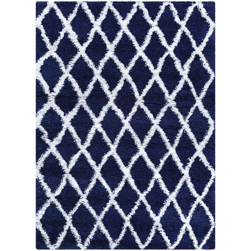 Couristan Urban Shag Temara Navy Blue and White Rectangular: 2 Ft. x 3 Ft. 11 In. Rug