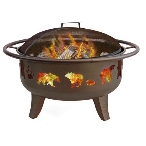 Landmann 30-Inch Bears Firedance Fire Pit - Metallic Brown