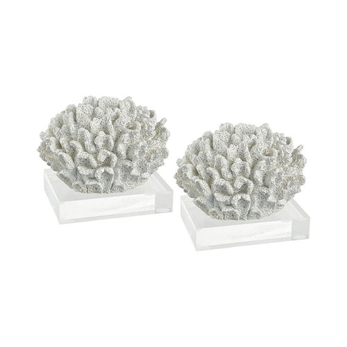 Great Reef Brain Coral White Seven-Inch Decorative Accessory, Set of Two