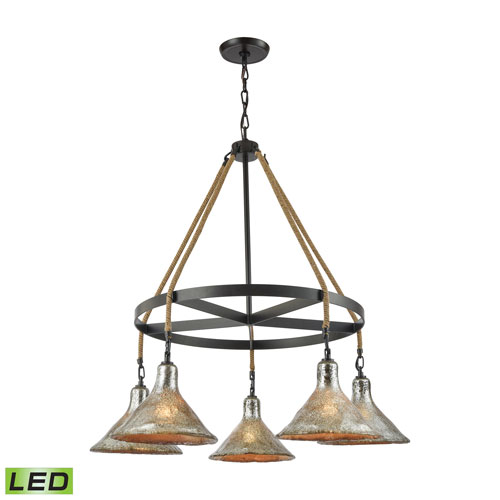 Hand Formed Glass Oil Rubbed Bronze 36-Inch LED Chandelier