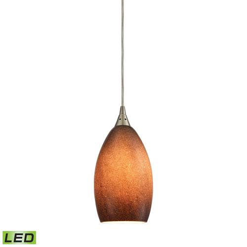 Elk Lighting Earth Satin Nickel LED Mini Pendant with Textured Sand Glass