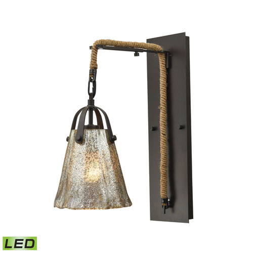 Hand Formed Glass Oil Rubbed Bronze Seven-Inch LED Wall Sconce