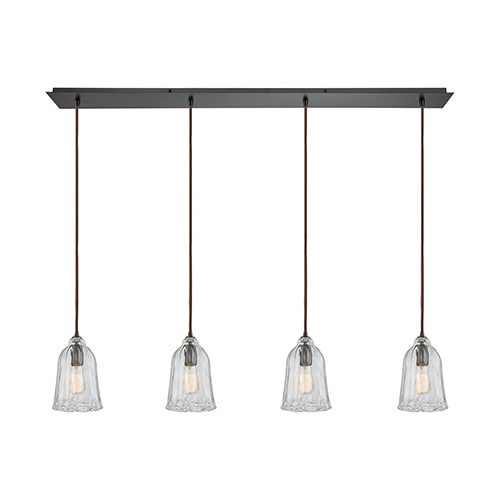 Hand Formed Glass Oil Rubbed Bronze Four-Light Pendant
