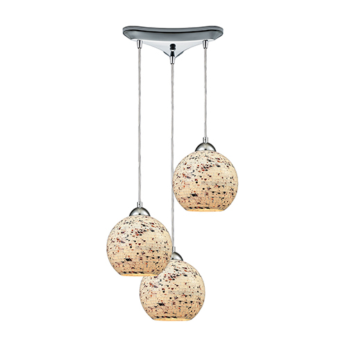 Spatter Polished Chrome 100W Three-Light Pendant