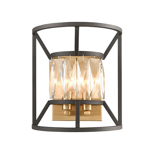Starlight Charcoal and Satin Brass Two-Light Wall Sconce