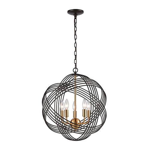 Oil Rubbed Bronze and Satin Brass Five-Light Pendant