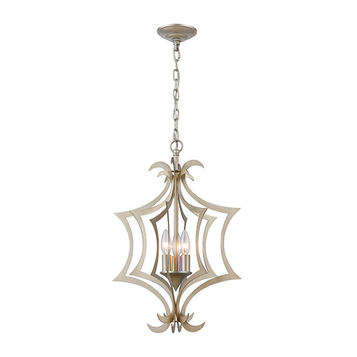 Delray Aged Silver Three-Light Pendant