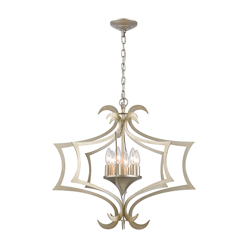 Delray Aged Silver Six-Light Pendant