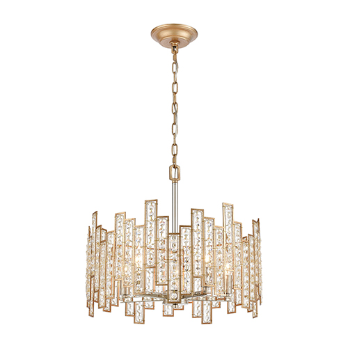 Equilibrium Matte Gold and Polished Nickel Five-Light Pendant With Clear Crystal