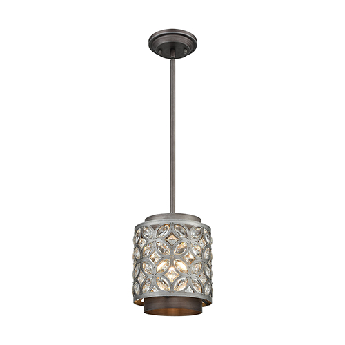 Rosslyn Weathered Zinc and Matte Silver One-Light Mini Pendant