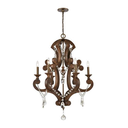 San Sebastian Spanish Antiquewood and Dark Bronze Six-Light Chandelier