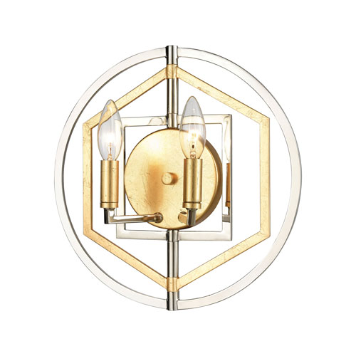 Geosphere Polished Nickel and Parisian Gold Leaf Two-Light ADA Wall Sconce