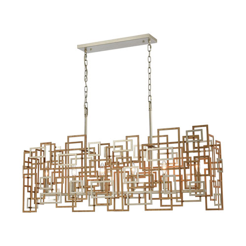 Gridlock Matte Gold and Aged Silver Six-Light Island Chandelier