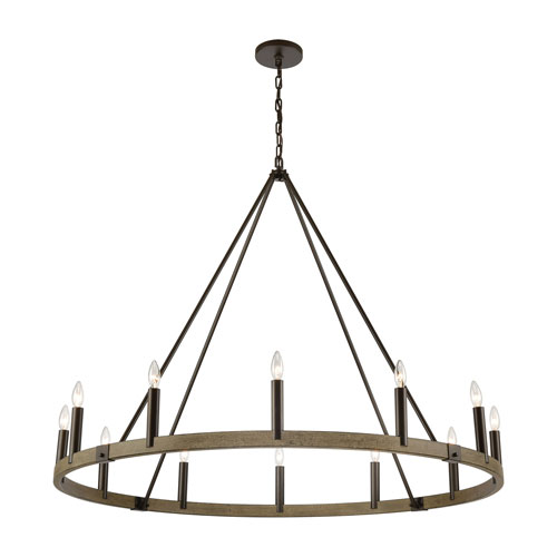 Transitions Oil Rubbed Bronze and Aspen 50-Inch 12-Light Chandelier