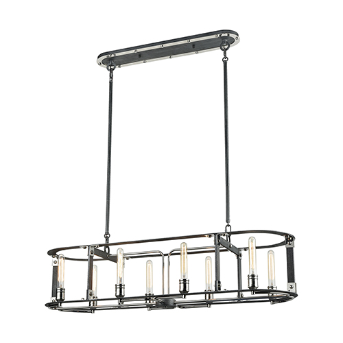 Riveted Plate Silverdust Iron and Polished Nickel Eight-Light Island Pendant