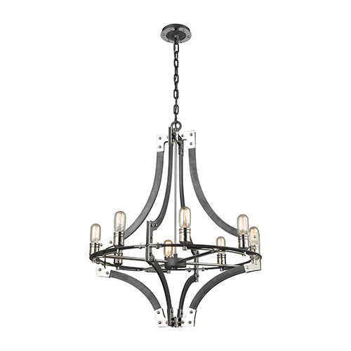 Riveted Plate Silverdust Iron and Polished Nickel 28-Inch Eight-Light Chandelier
