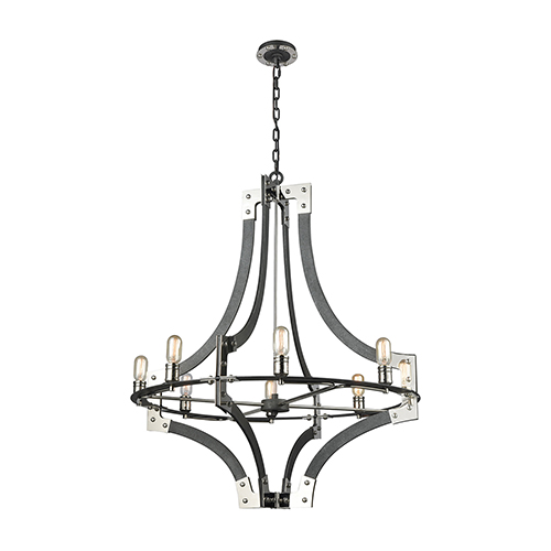 Riveted Plate Silverdust Iron and Polished Nickel 36-Inch Eight-Light Chandelier