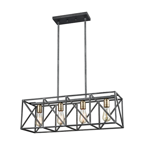 Crossbar Silverdust Iron and Satin Brass Four-Light Island Pendant