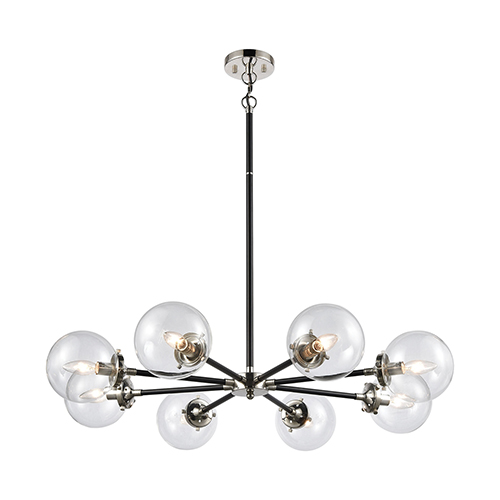 Boudreaux Matte Black and Polished Nickel Eight-Light Chandelier