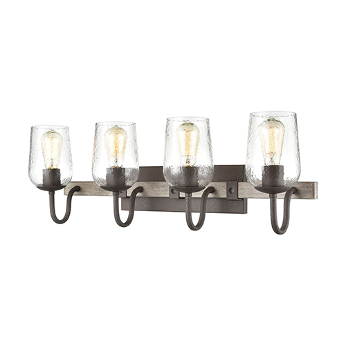 Dillon Vintage Rust and Colonial Maple Four-Light Vanity Light