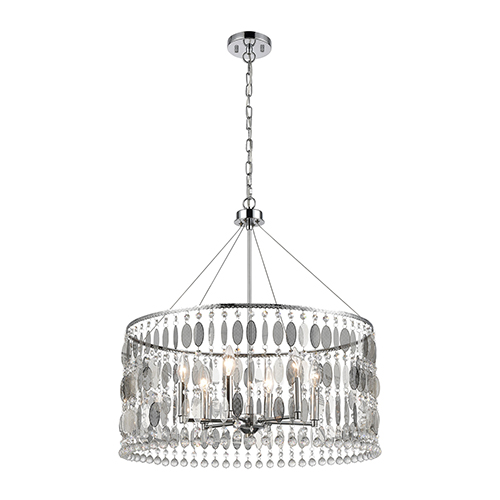 Chamelon Polished Chrome Six-Light 24-Inch Pendant With Clear Crystal