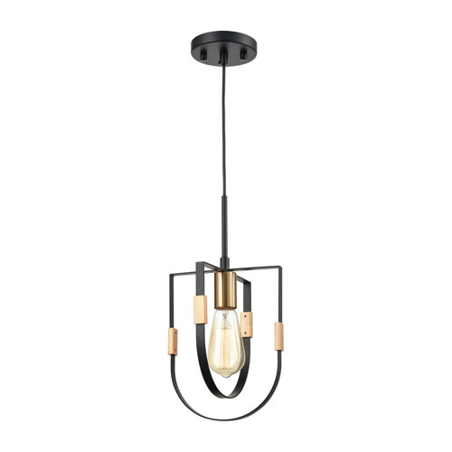 Heathrow Matte Black and Satin Brass One-Light Mini Pendant
