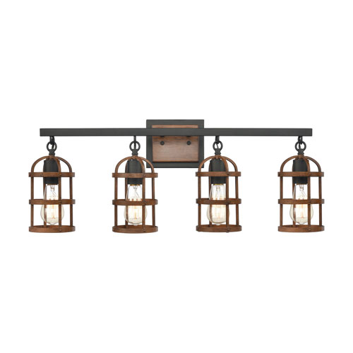 Millville Oil Rubbed Bronze and Dark Oak Four-Light Bath Vanity