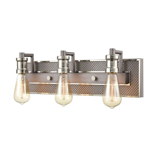 Gridiron Weathered Zinc and Polished Nickel Three-Light Bath Vanity