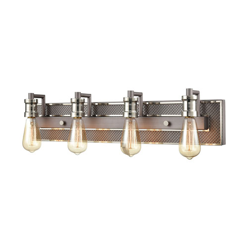 Gridiron Weathered Zinc and Polished Nickel Four-Light Bath Vanity