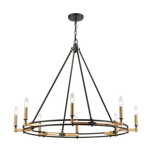 Talia Oil Rubbed Bronze and Satin Brass Eight-Light Chandelier