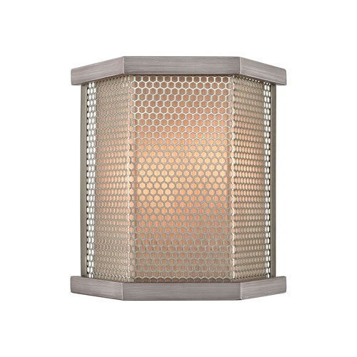 Crestler Weathered Zinc and Polished Nickel Two-Light Wall Sconce