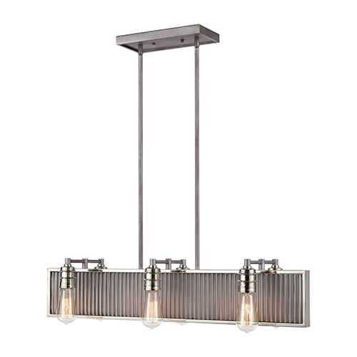 Corrugated Steel Weathered Zinc and Polished Nickel Six-Light Pendant