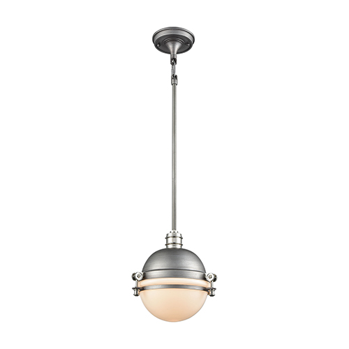 Elk Lighting Riley Weathered Zinc and Polished Nickel 10-Inch One-Light Mini Pendant