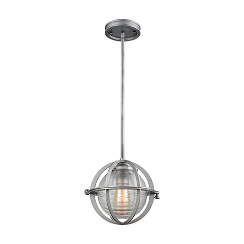 Aubridge Weathered Zinc 10-Inch One-Light Mini Pendant with Clear Ribbed Blown Glass