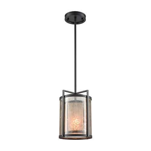 Stasis Oil Rubbed Bronze and Mica Eight-Inch One-Light Mini Pendant