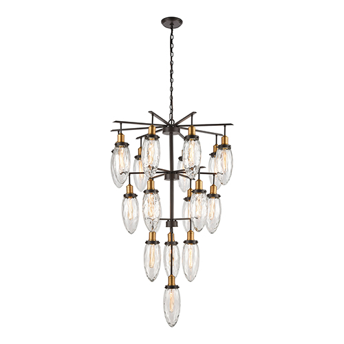 Shinzu Oil Rubbed Bronze and Antique Brass 18-Light Chandelier