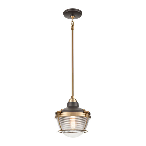 Seaway Passage Oil Rubbed Bronze and Satin Brass One-Light Pendant