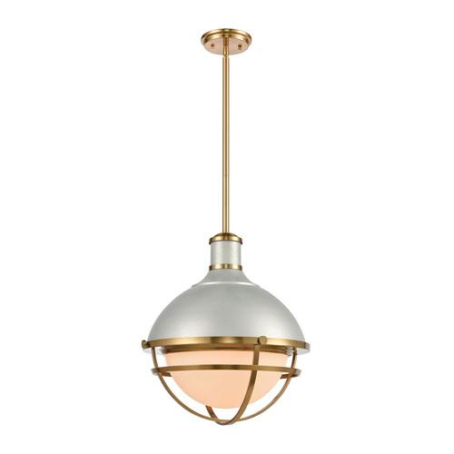 Jenna Satin Silver and Satin Brass One-Light Pendant
