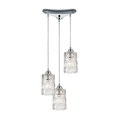 Ezra Polished Chrome Three-Light 12-Inch Pendant With Clear Crystal