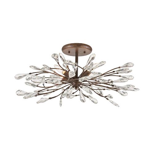 Elk Lighting Crislett Sunglow Bronze Four-Light Semi Flush Mount