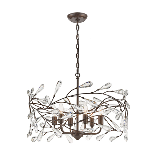 Crislett Sunglow Bronze Six-Light 23-Inch Pendant With Clear Crystal