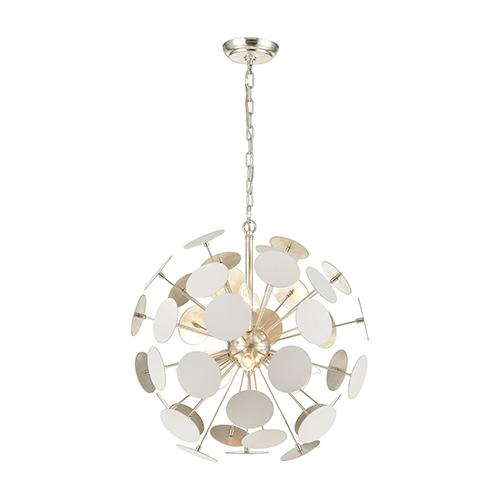 Modish Matte White and Silver Leaf Six-Light Pendant